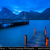 Europe - Austria - Österreich - Upper Austria - Salzkammergut - Traunkirchen - Traunsee Lake in Austrian Alps captured at Blue Hour - Dusk - Blue Hour