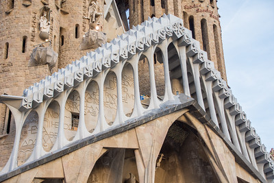 Austere bone-like  structures on the Passion façade of La Sagrada Familia