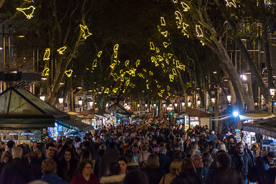 Christmas lights and crowds on La Rambla