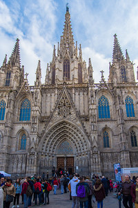 Cathedral of Barcelona. This facade was added in the late 19th century to cover the nondescript Catalan facade.