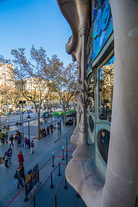Casa Batlló: looking out the front of the house onto Passeig de Gràcia