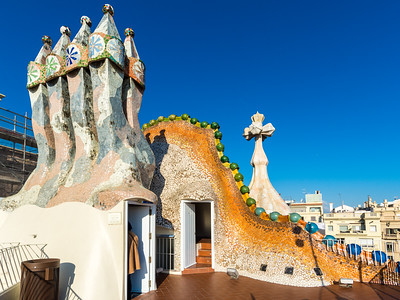 Casa Batlló: on the roof near the front of the house