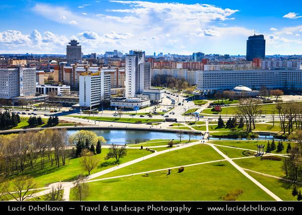 Europe - Belarus - Belorussia - Minsk - Aerial view of cityscape along Svisloch (Свислочь) River