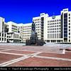 Europe - Belarus - Belorussia - Minsk - Independence Square - Plošča Niezaliežnasci - Плошча Незалежнасці - Lenin Square - One of main landmarks on Independence Avenue & one of the biggest squares in Europe - Minsk's main ceremonial venue during Soviet times - Supreme Soviet - Government House - Supreme Council & functioning parliament for Belarus with large statue of Vladimir Lenin