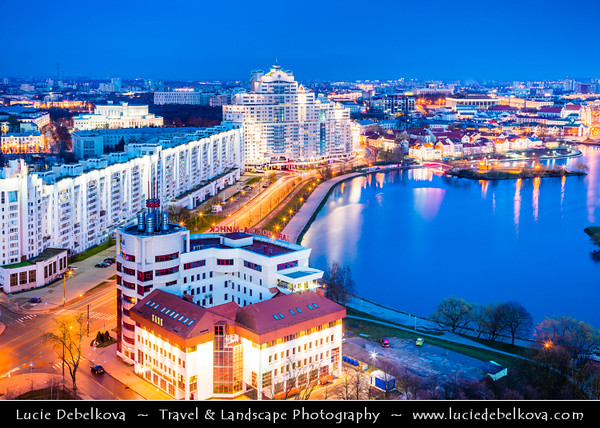 Europe - Belarus - Belorussia - Minsk - Aerial view of cityscape along Svisloch (Свислочь) River - Classic panorama - Dusk - Twilight - Blue Hour - Night