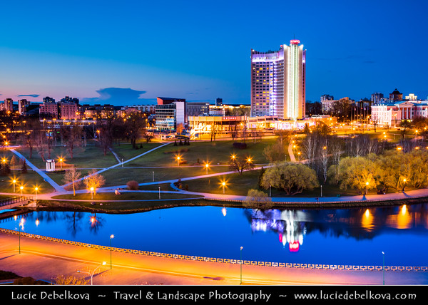 Europe - Belarus - Belorussia - Minsk - Aerial view of cityscape along Svisloch (Свислочь) River with Belarus Hotel - One of the most recognizable architectural monuments of Minsk