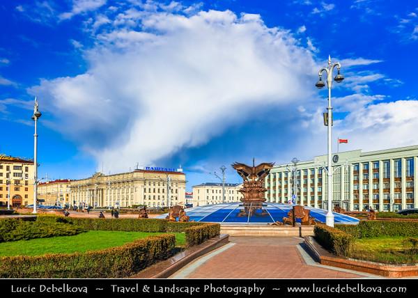 Europe - Belarus - Belorussia - Minsk - Independence Square - Plošča Niezaliežnasci - Плошча Незалежнасці - Lenin Square - One of main landmarks on Independence Avenue & one of the biggest squares in Europe - Minsk's main ceremonial venue during Soviet times