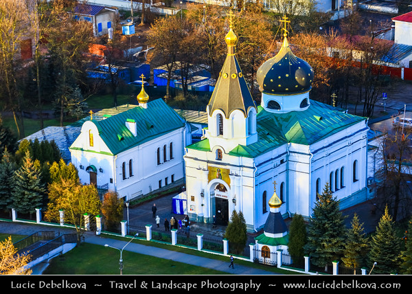 Europe - Belarus - Belorussia - Minsk - Aerial view of cityscape - Russian Orthodox church of St. Mary Magdalene