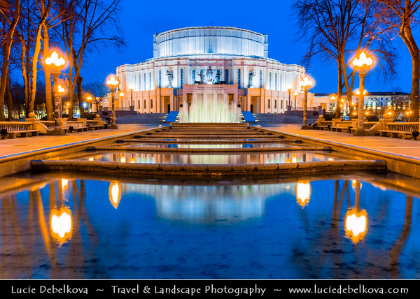 Europe - Belarus - Belorussia - Minsk - National Academic Grand Opera and Ballet Theatre of the Republic of Belarus - Нацыянальны акадэмічны Вялікі тэатр оперы і балета - Iconic city landmark in Trinity Banlieu park