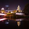 Night reflection of the Island of Tears in Minsk, Belarus.