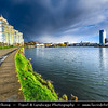 Europe - Belarus - Belorussia - Minsk - Cityscape along Svisloch (Свислочь) River during dramatic stormy weather