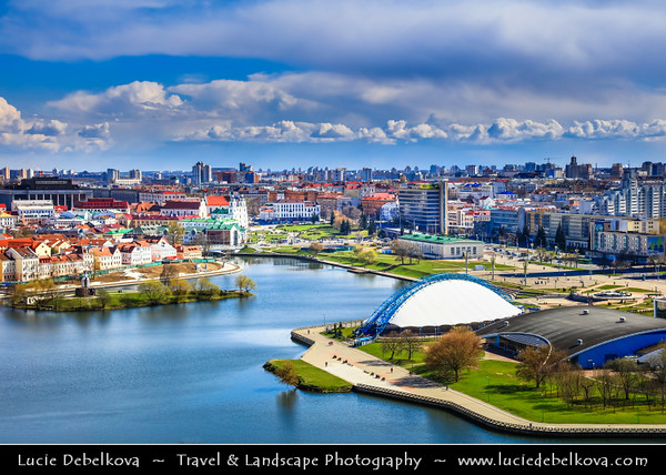 Europe - Belarus - Belorussia - Minsk - Aerial view of cityscape along Svisloch (Свислочь) River - Classic panorama