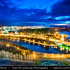 Europe - Belarus - Belorussia - Minsk - Aerial view of cityscape along Svisloch (Свислочь) River with Belarusian Great Patriotic War Museum - Dusk - Twilight - Blue Hour - Night