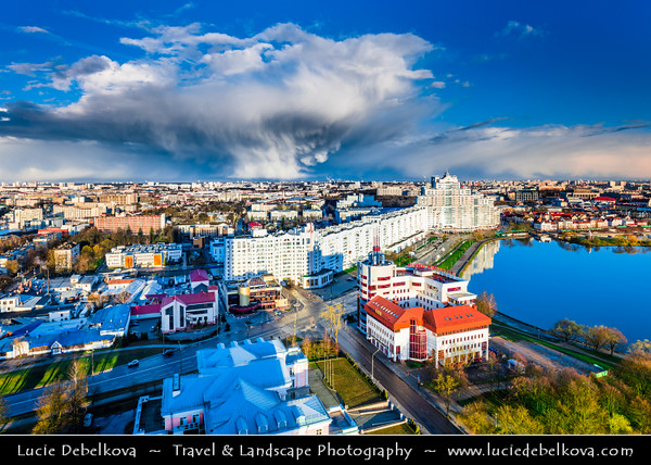 Europe - Belarus - Belorussia - Minsk - Aerial view of cityscape along Svisloch (Свислочь) River during dramatic stormy weather