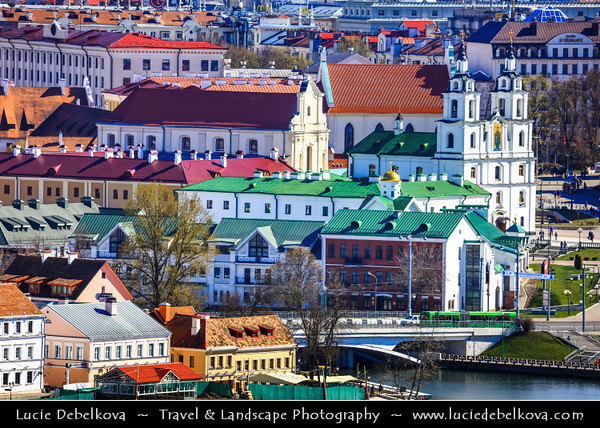 Europe - Belarus - Belorussia - Minsk - Trinity Hill - Trinity Suburb - Trojeckaje Pradmiescie - Oldest surviving district of Minsk - Historic neighbourhood sprawling along left bank of Svislach River - Holy Spirit Cathedral - Кафедральны сабор Сашэсця Святога Духа - Iconic landmark & Central cathedral of Belarusian Orthodox Church - Aerial view