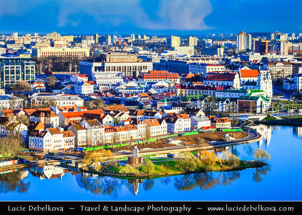 Europe - Belarus - Belorussia - Minsk - Aerial view of cityscape along Svisloch (Свислочь) River with Holy Spirit Cathedral - Кафедральны сабор Сашэсця Святога Духа - Iconic landmark & Central cathedral of Belarusian Orthodox Church