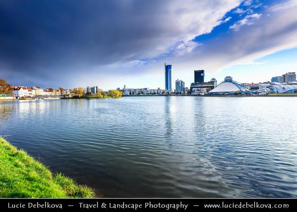 Europe - Belarus - Belorussia - Minsk - Cityscape along Svisloch (Свислочь) River during dramatic stormy weather
