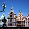 Belgium - Antwerp - Historic Buildings in Grote Markt Square - Brabo Fountain, Stadhuis & Guildhouses - Eastern Flanders