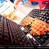 Belgium - Wallonia - Liège - Luik - Waffles - Waffle Vendors on the tradtional open air Sunday market - La Batte along the river