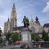A large public square in Antwerp, Belgium.