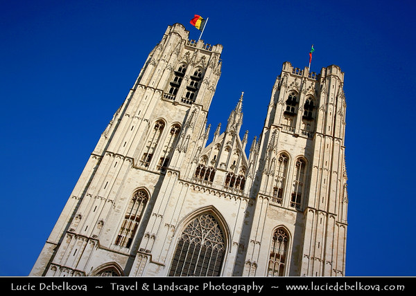 Belgium - Brussels - Bruxelles - St. Michael and St. Gudula Cathedral - Roman Catholic church at the Treurenberg Hill