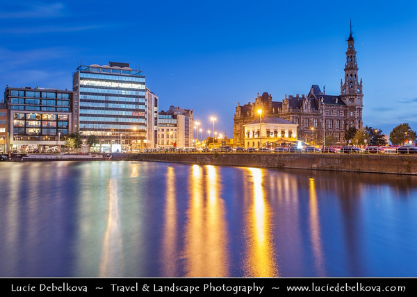 Europe - Belgium - Flanders - Antwerp - Antwerpen - Eilandje district at Dusk - Twilight - Blue Hour - Night