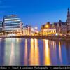 Europe - Belgium - Flanders - Antwerp - Antwerpen - Eilandje district at Dusk - Twilight - Blue Hour - Night