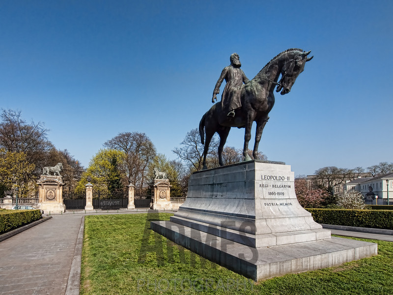 Equestrian statue of King Leopold II behind the Royal Palace in Brussels, Belgium