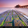 Belgium - West Flanders - Blankenberge - Flemish coastal town on shores of North Sea - National and to a certain extent international seaside resort - Blankenberge Pier reaching into the North Sea at Sunrise - Soft morning light