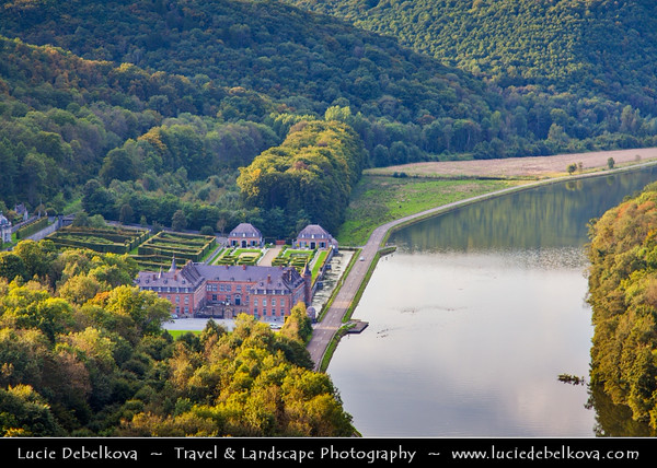 Europe - Belgium - Wallonia - Freyr castle - Chateau de Freyr with gardens located on left bank of the Meuse, between Waulsort and Dinant, province of Namur
