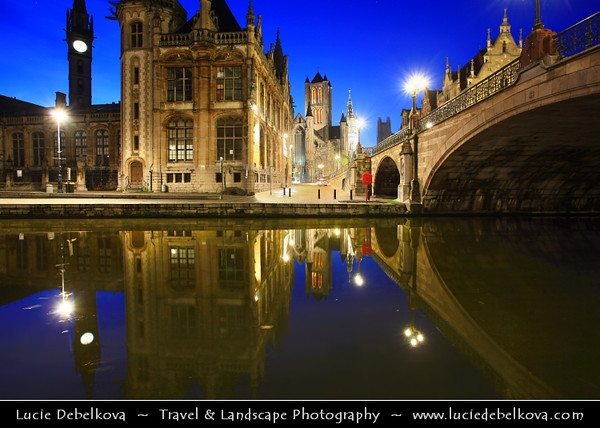 Europe - Belgium - East Flanders - Gent - Ghent - Gand - Medieval town with unique row of historical buildings along water canals