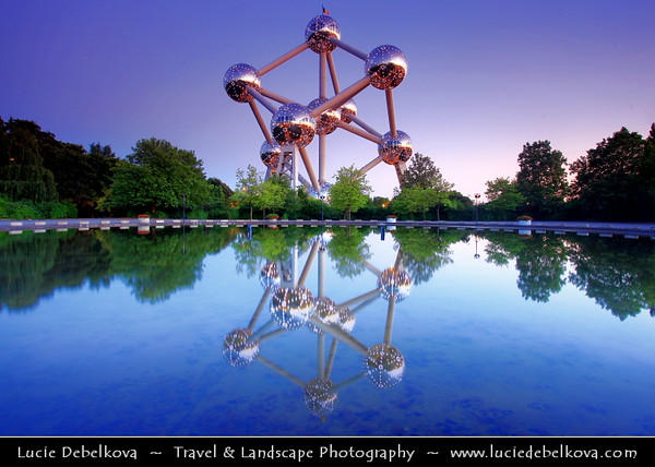 Belgium - Brussels - Bruxelles - Atomium - Expo '58 Monument - Stands 102 metres (335 ft) tall with nine steel spheres connected so that the whole forms the shape of a unit cell of an iron crystal magnified 165 billion times - Dusk - Blue Hour - Twilight