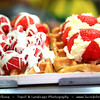 Belgium - Brussels - Bruxelles - Brussel - Brussels Waffle - Brusselse Wafels - Traditional Belgium dessert treat - Batter-based or dough-based cake cooked in a waffle iron patterned to give a characteristic size, shape and surface impression -