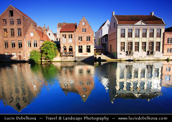 Belgium - East Flanders - Gent - Ghent - Gand - View on the Graslei - Medieval port with its unique row of historical buildings, which are reflected in the long river