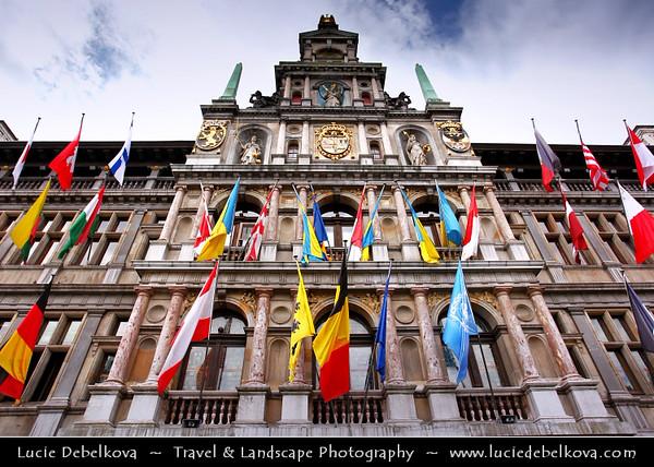 Belgium - Antwerp - Historic Buildings in Grote Markt Square - Brabo Fountain, Stadhuis & Guildhouses - Eastern Flanders