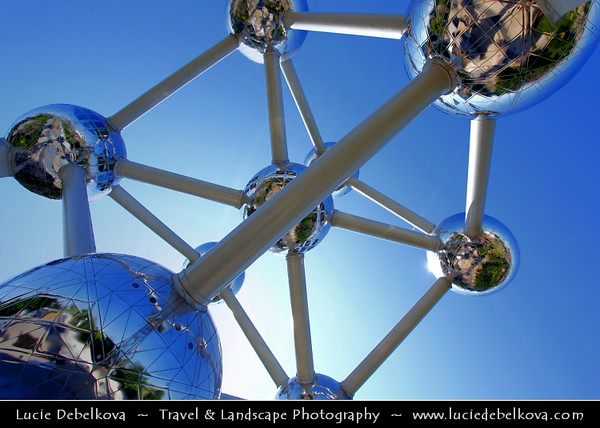 Belgium - Brussels - Bruxelles - Brussel - View of the Atomium - Monument Built for Expo '58 - World's Fair - 102-metres (335 ft) tall, with nine steel spheres connected so that the whole forms the shape of a unit cell of an iron crystal magnified 165 billion times