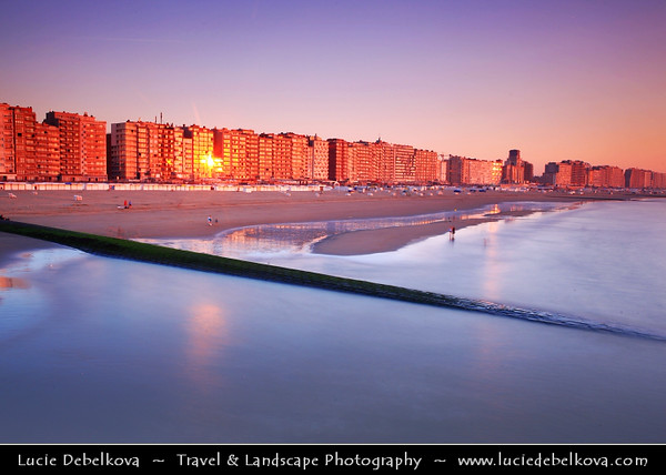 Belgium - West Flanders - Blankenberge - Flemish coastal town on shores of North Sea - National and to a certain extent international seaside resort - Blankenberge town skyline at Sunset