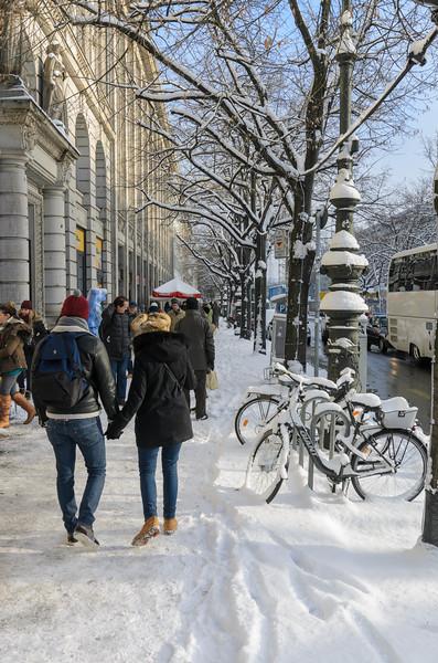 Walking on Unter den Linden in Fresh Snow