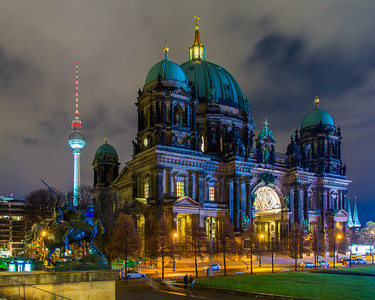 Berlin Cathedral Church and the Berlin Fernsehturm in the background.