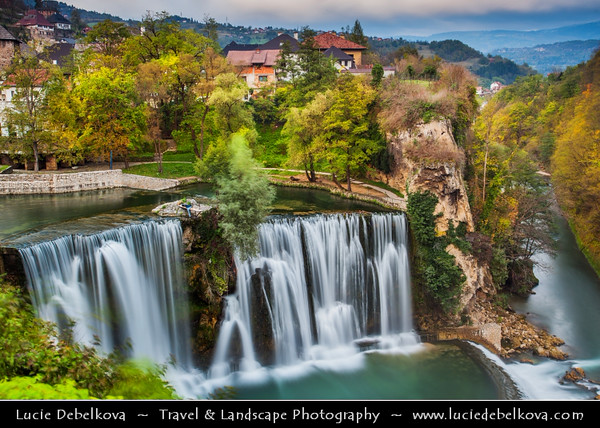 Europe - Bosnia and Herzegovina - Jajce - Fortified old town with ruined castle above impressive urban waterfall