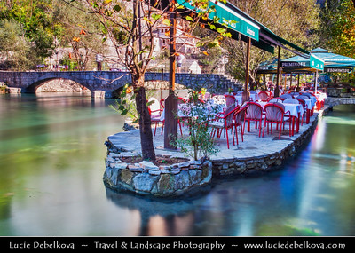 Europe - Bosnia and Herzegovina - Blagaj - Vrelo Bune - Buna Spring - Blagaj Tekke - Sufi monastery standing by source of Buna river - Sufi centre of learning dating back to the 15th century - Important site for Muslims