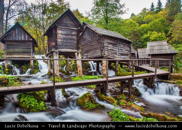 Europe - Bosnia and Herzegovina - Jajce - Water mills - Mlinčići - on River Pliva and Pliva lake - Historical mills built during Ottoman era