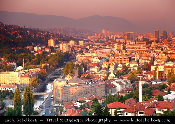 Europe - Bosnia and Herzegovina - Sarajevo - Сарајево - Capital city - Bascarsija district - Baščaršija - Panorama of Historical Centre of the City along Miljacka River at Sunrise