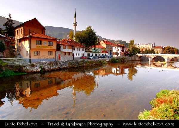 Europe - Bosnia and Herzegovina - Sarajevo - Сарајево - Capital city - Bascarsija district - Baščaršija - Cityscape along Miljacka River in the heart of historical city