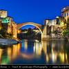 Europe - Bosnia and Herzegovina - Mostar - UNESCO World Heritage site - Old Ottoman Bridge over Neretva River Area of the Old City of Mostar - One of Bosnia and Herzegovina's most recognizable landmarks & one of the most exemplary pieces of Islamic architecture