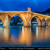 Europe - Bosnia and Herzegovina - Konjic - Old Stone Bridge built in Ottoman style connecting banks of Neretva river for centuries