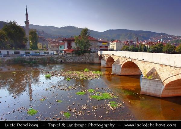 Europe - Bosnia and Herzegovina - Sarajevo - Сарајево - Capital city - Bascarsija district - Baščaršija - Cityscape along Miljacka River in the heart of historical city