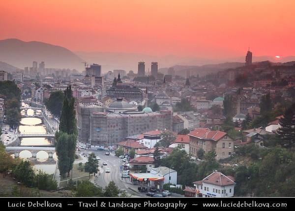 Europe - Bosnia and Herzegovina - Sarajevo - Сарајево - Capital city - Bascarsija district - Baščaršija - Panorama of Historical Centre of the City along Miljacka River
