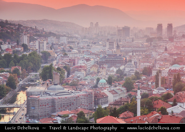 Europe - Bosnia and Herzegovina - Sarajevo - Сарајево - Capital city - Bascarsija district - Baščaršija - Panorama of Historical Centre of the City along Miljacka River