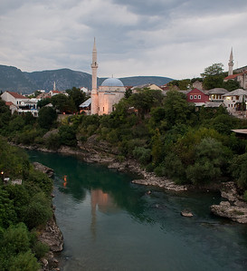 Early evening view from the Mostar bridge.